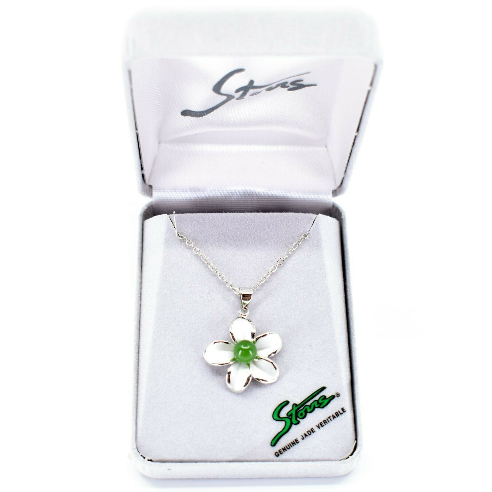 Storrs Genuine Jade Veritable Forget Me Not Flower Pendant Silver Tone Necklace