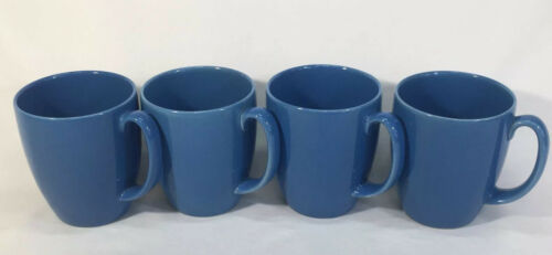 Primary image for Corelle Stoneware Solid Blue Coffee Cups Mugs GUC AL001