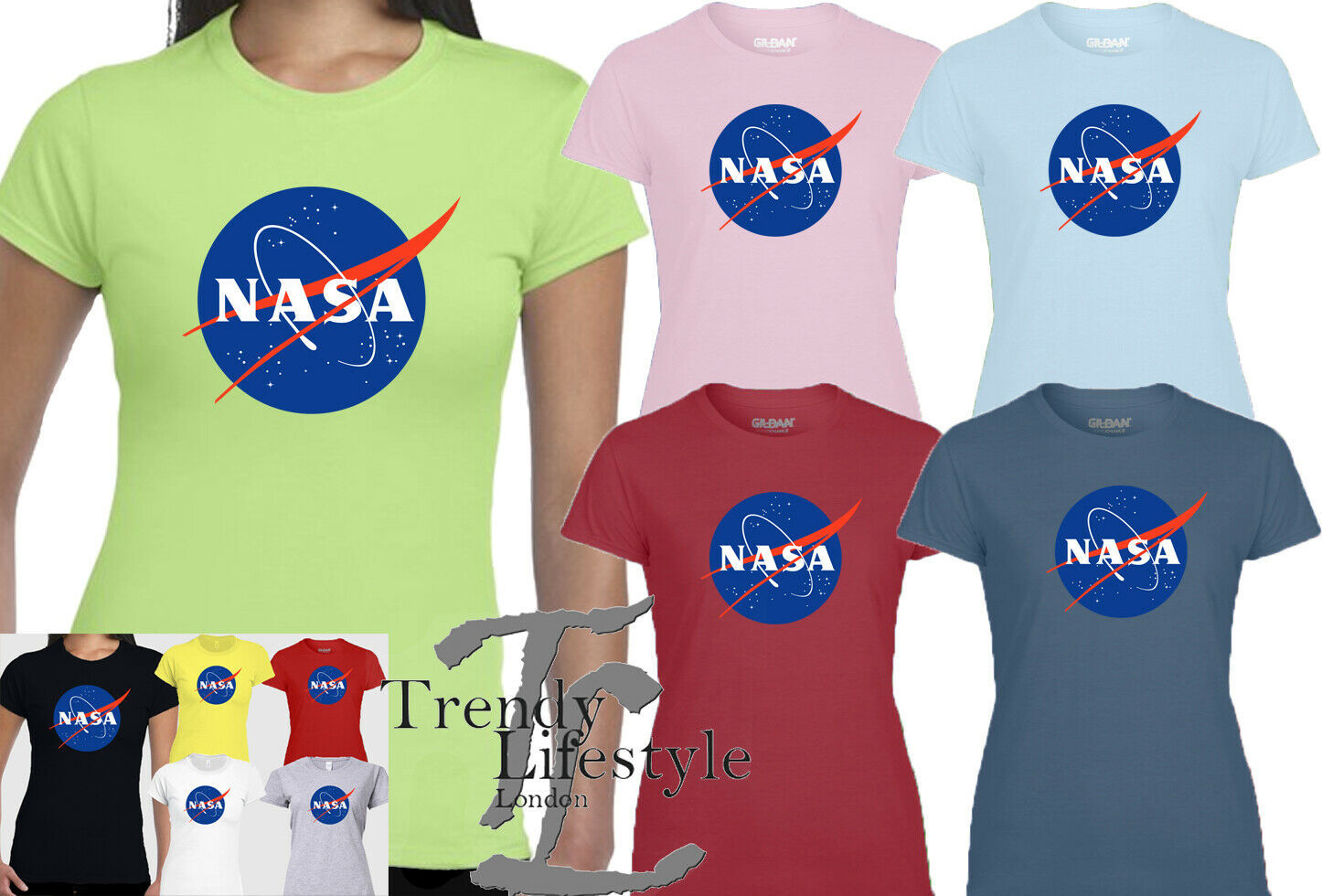 Primary image for NASA SPACE LOGO PRINT ASTRONAUT TRENDY GEEK LADIES SLIM FIT SOFT GILDAN T-SHIRT