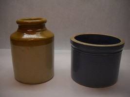 VINTAGE Set of 2 Small CROCKS 1 BLUE No Top 1 TAN YELLOW Top OPEN Unbranded - $47.51
