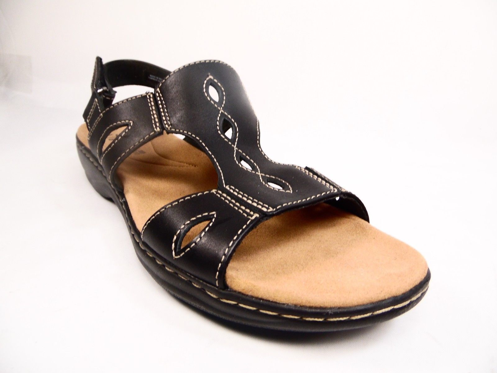 b00355d2b99 Clarks Leisa Lakelyn Leather Womens Sandal Low Heel Shoes Black Size 11M