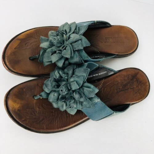 Born Blue Leather Flip Flops Slip On Flats Shoes Size 8 M Flower Thong