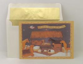 Christmas manger greeting card vintage Valorie Evers Wenk art Sunrise Gr... - $9.34