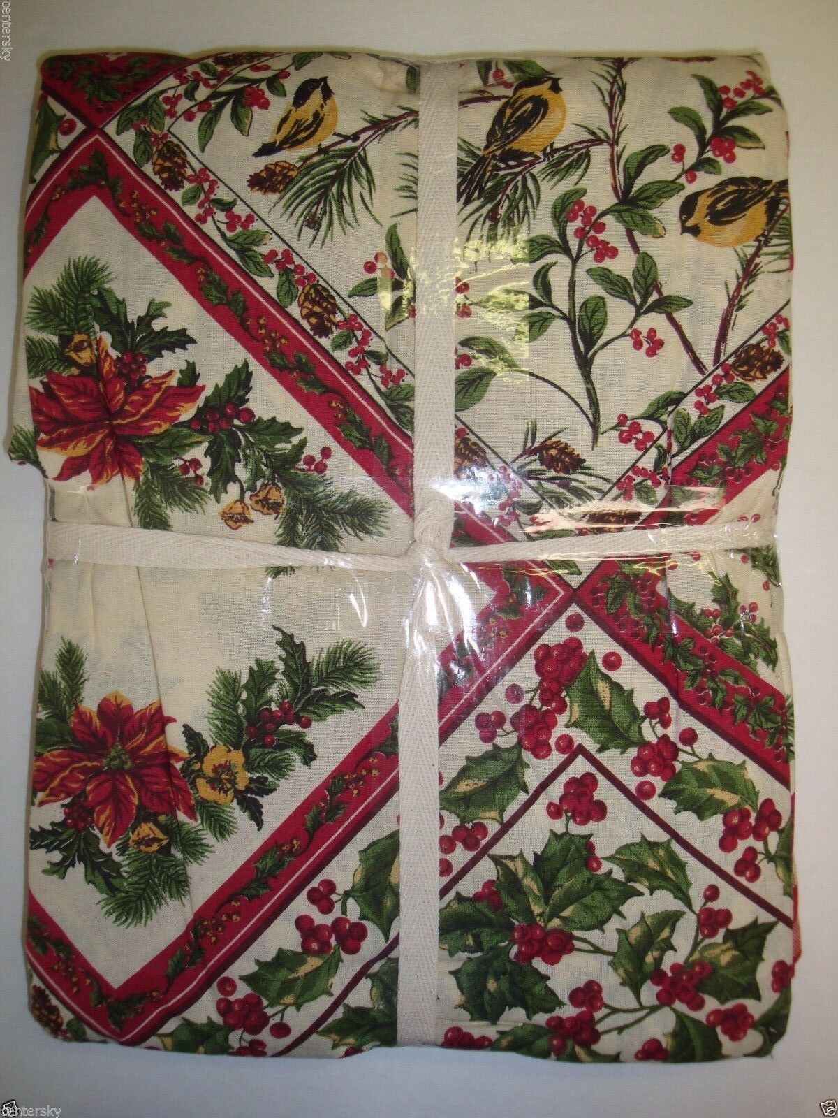 """New April Cornell Tablecloth 60x104"""" Christmas Holly Bird Checkered Boarder image 2"""