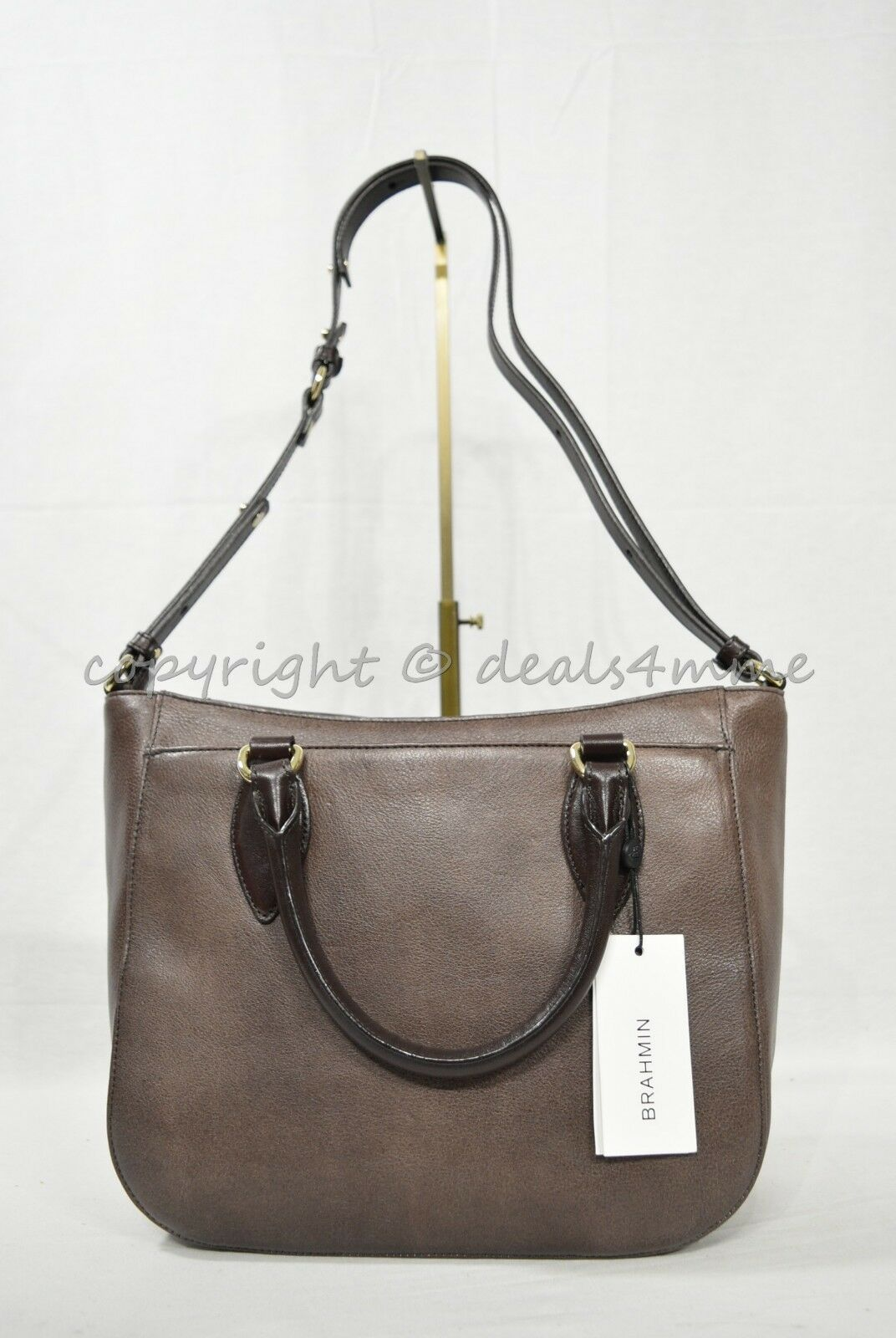 NWT Brahmin Small Lena Leather Satchel/Shoulder Bag in Brown Barrow image 12