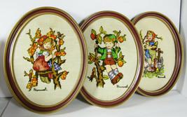 Vintage Set Of 3 Hummel Embroidered Oval Framed Pictures - $29.65
