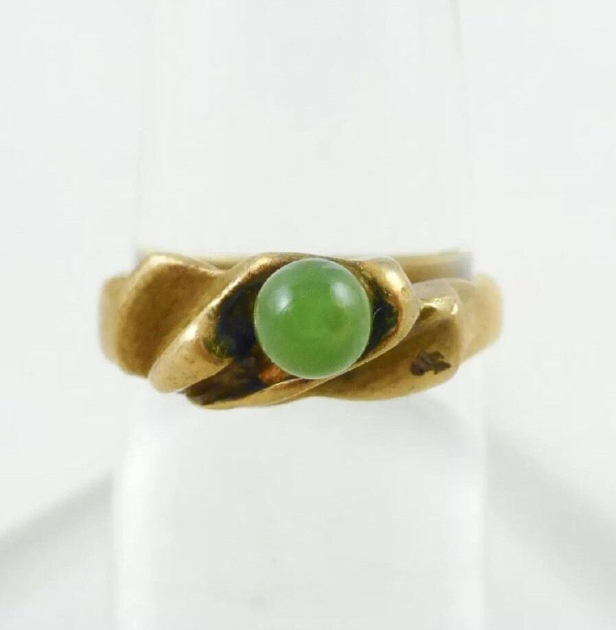 18k Yellow Gold Green Peridot Solitaire Ring Sz 4.75