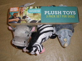 Animal Planet 3 Pack Plush Toys Dogs ROAR Hidden Squeaker New Unused - $23.36