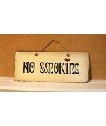 "VINTAGE NO SMOKING SLATE PLAQUE/SIGN HAND PAINTED PLAIN JANE 1992 11X4.5"" - $24.70"