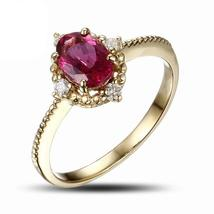 18k Solid Yellow Gold Ring with Genuine Healing 1.30ct Tourmaline and Real Diamo - $817.95