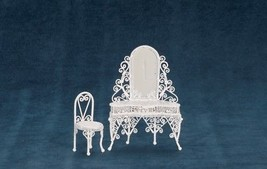 Dollhouse Miniature Dressing Table w/Chair, White Wire #EIWF208 - $32.24