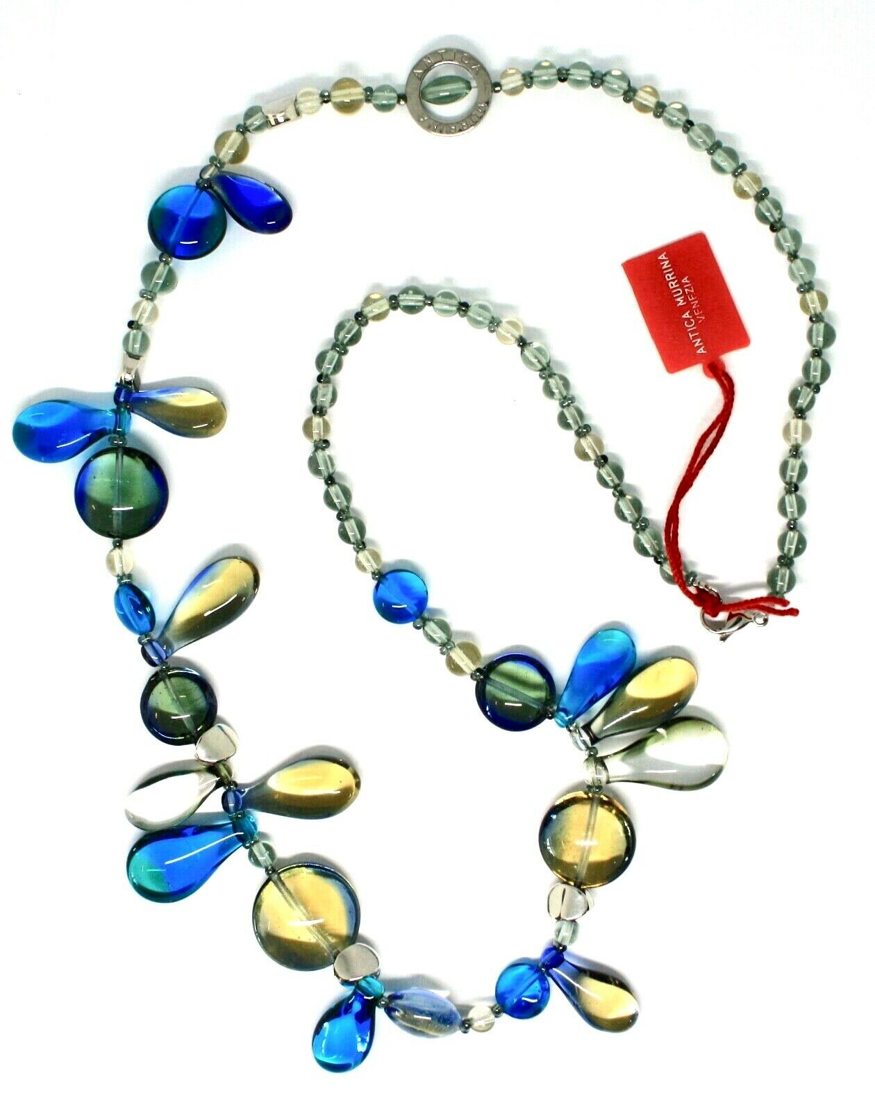 Necklace Antica Murrina Venezia with Murano Glass Lapilli Blue Grey CO692A07