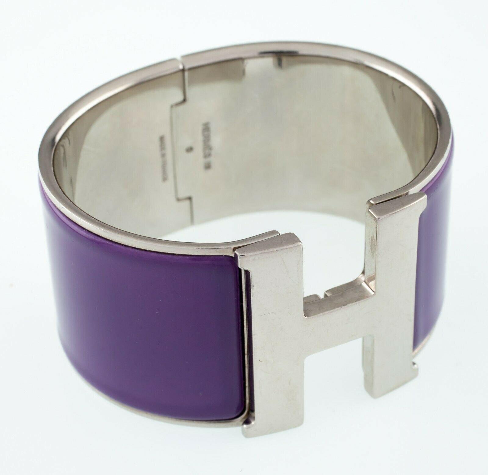 Hermès Clic Clac Violeta Extra Ancho Pulsera Nice!