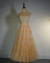 Gold Apricot Floor Length Tulle Skirt Sparkle Long Tiered Tulle Holiday Outfit image 4
