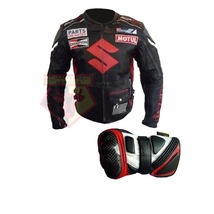 Suzuki Icon Black Motorbike Motorcycle Cowhide Leather Jacket With Free Gloves - $214.99