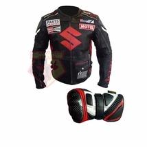 SUZUKI ICON BLACK MOTORBIKE MOTORCYCLE COWHIDE LEATHER JACKET WITH FREE ... - $214.99