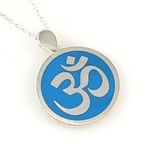 Sterling Silver Blue Turquoise Round OM OHM AUM Pendant Necklace 16+2 Chain, Uni - $26.99