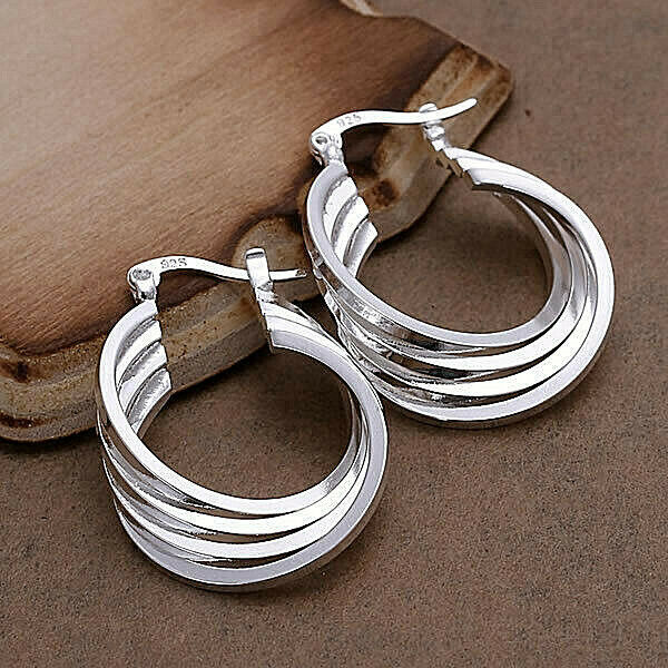 Primary image for Coiled Loop Earrings 925 Sterling Silver NEW