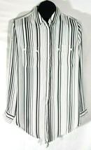 Jones New York Signature Black White Striped Womens Shirt Large Button D... - $11.95