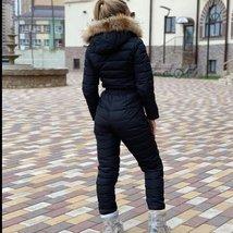 European Women's Fashion One Piece Black Fur Lined Hooded Ski Suit Snowsuit image 2