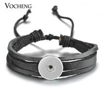 10PCS/Lot 18mm Vocheng Snap Button Charms Bracelet Black Brown Genuine L... - $44.65