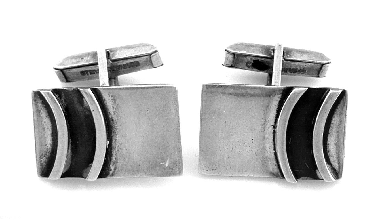 Primary image for BIG Vintage 1950s Handmade Sterling Silver Geometric Modernist CUFFLINKS