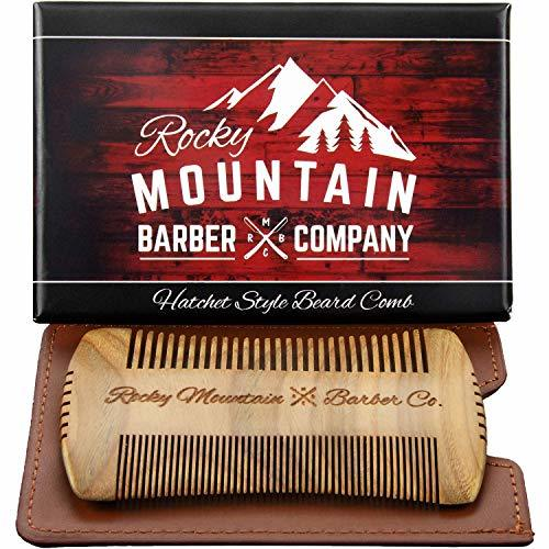 Beard Comb - Sandalwood Natural Hatchet Style for Hair - Anti-Static & No Snag,
