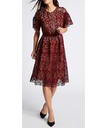MARKS & SPENCER COLLECTION Burgundy Floral Lace Skater Midi Dress Size U... - $71.19