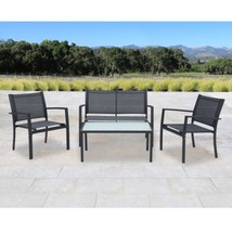 Outdoor 4-piece Black Sling Fabric Chat Set 2 C... - $237.28