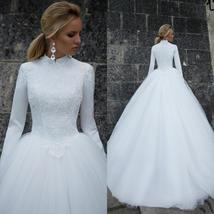 Designer High Neck Long Sleeve Winter Ball Gown Lace Tulle A-Line Princess Brida image 3