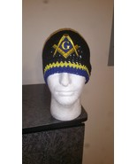 Masonic Handmade Crochet Beanie/Black, Blue & Yellow - $23.00