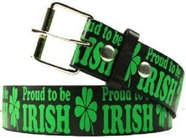 PROUD TO BE IRISH Printed St Patty's Day St Patricks Clover Shamrock Belt  - $7.47