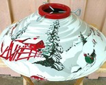Vintage Painted Christmas Tree Stand Farm Snow Scene White Red