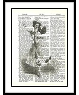 Ballet Dancer Butterfly Fairy Wings Dictionary Art Print ladies016 - $10.99