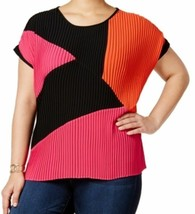 Top 1X Plus NY Collection NWT Black Pink Pleated Blouse Short Sleeve MC7... - $32.40