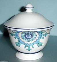 Lenox Mediterra Sugar Bowl Lidded White & Blue by Muralist Chuck Fischer... - $32.90