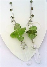 Peridot Gemstone Nuggets And Crystal Silver Wire Earrings - $13.39