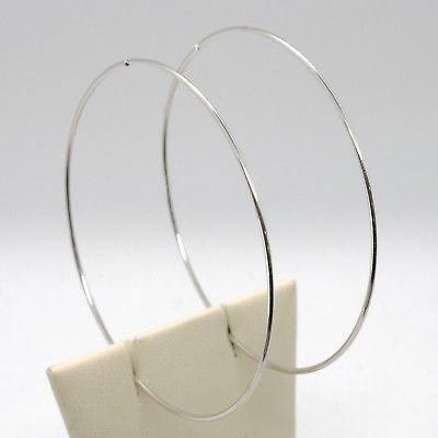 18K WHITE GOLD ROUND CIRCLE HOOP EARRINGS DIAMETER 60 MM x 1 MM, MADE IN ITALY