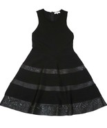 Parker S Laser-cut Knit + Leather Fit-And-Flare Dress Black - $35.99