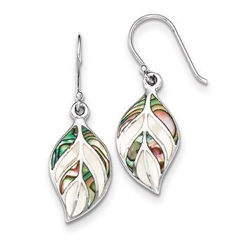 Primary image for Lex & Lu Sterling Silver Polished Leaf MOP & Abalone Dangle Earrings