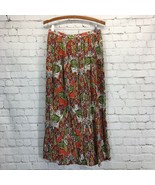 Charter Club Long Tropical Cotton Crinkle Skirt Womans Small Multi-Color... - $24.14