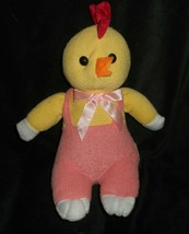 "13"" Sugar Loaf Easter Yellow Duck Chick Peach Pants Bow Stuffed Animal Plush Toy - $26.18"
