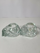 Indiana Glass Votive Candle Holders Crystal Cat Shaped Clear Cut Glass S... - $24.99
