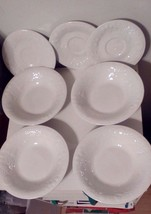Gibson 4 White Fruit Embossed Pattern Salad Bowls & 3 Saucers Exll. Shape - $26.65