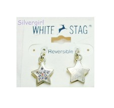 White Stag Rhinestone Silver Plate Stud Dangle Earrings Purple, Red, Blue - $9.99