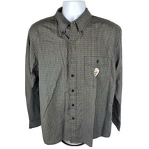 NFL Team Apparel Mens Button Front Shirt Sz M Med Pittsburgh Steelers Gray - $18.13