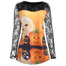 Plus Size Halloween Pumpkin Moon Lace Insert(ORANGE XL) - $16.19