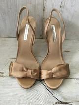 "BCBG Max Azria Gold Satin 5"" Strappy Bow Heels Size 8  - $24.74"
