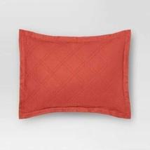 1 Threshold Linen Blend Quilt Standard Sham Orange Coral - $21.78