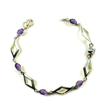 Genuine Oval Amethyst Silver For Women Link-Bracelets Prong Style Length... - $35.64